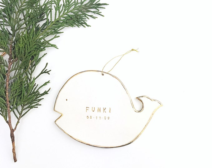 Whale Personalized Ornament  22k Gold Luster Heirloom Babys 1st Ornament #FREESHIPPING #whaleornament #whalebaby