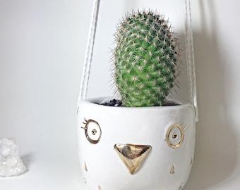 Hanging Owl Planter White and Gold Pot   #owlplanter