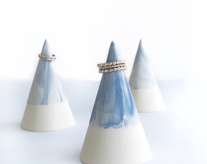 Blue Marble Ring Cone Ring Holder #FREESHIPPING