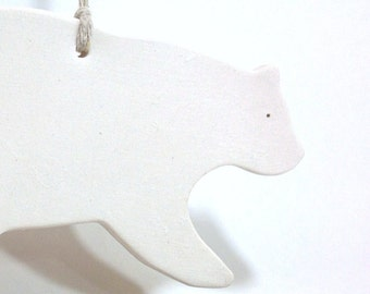 Polar Bear White Ornament Minimal Woodland Holiday #ChristmasGift #Keepsake #FREESHIPPING
