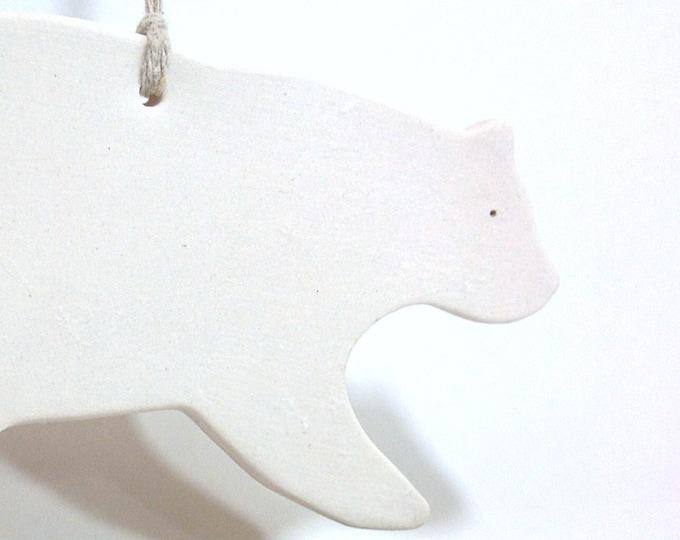 Polar Bear White Ornament Minimal Woodland Holiday #ChristmasGift #Keepsake #FREESHIPPING