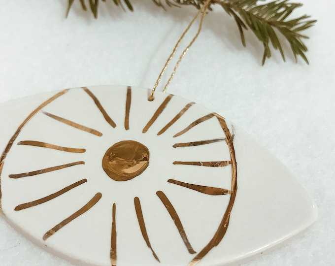 Eye Ornament White And 22k Gold Minimal Holiday Ornament #FREESHIPPING
