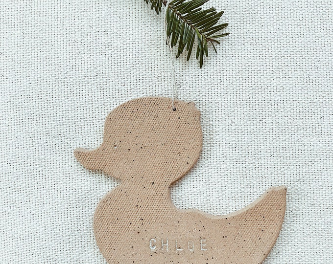 Personalized Duck Child Ornament  Natural Earthy Boho