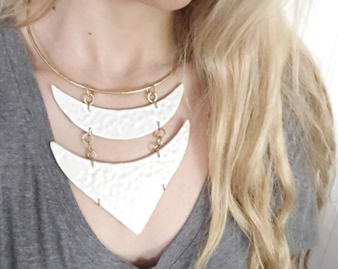 Brass Porcelain Hammered Necklace in White Elegant Minimal Statement Jewelry #FREESHIPPING