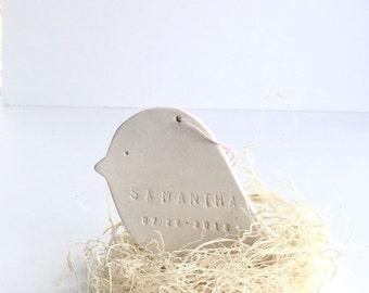 Bird Personalized Ornament Baby Bird Nest  White Minimal  #custombabyornament