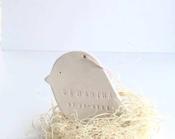 Bird Personalized Ornament Baby Bird Nest  White Minimal #FREESHIPPING #custombabyornament
