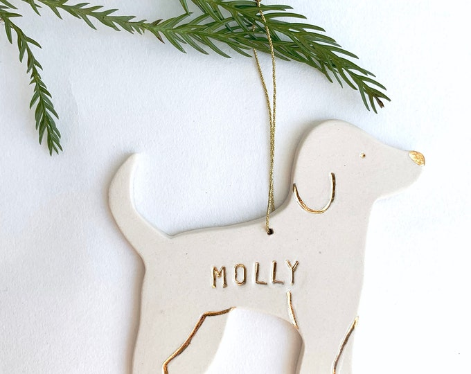 Doggy Personalized Ornament White And 22k Gold #FREESHIPPING