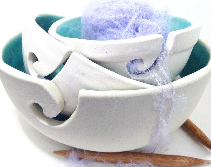 Set of Yarn Bowls In Hypnotizing Turquoise Color MADE TO ORDER