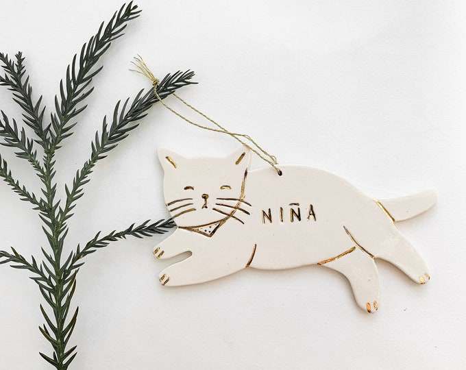 Kitty Cat Personalized Ornament White And 22k Gold #FREESHIPPING