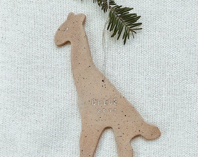 Personalized Giraffe Child Ornament  Natural Earthy Boho