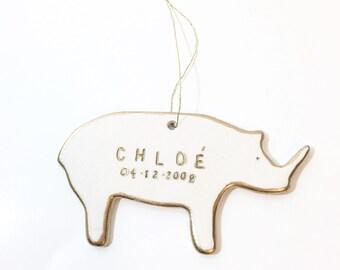 Rhino Personalized Ornament White And 22k Gold #FREESHIPPING #rhinoornament #babyrhino