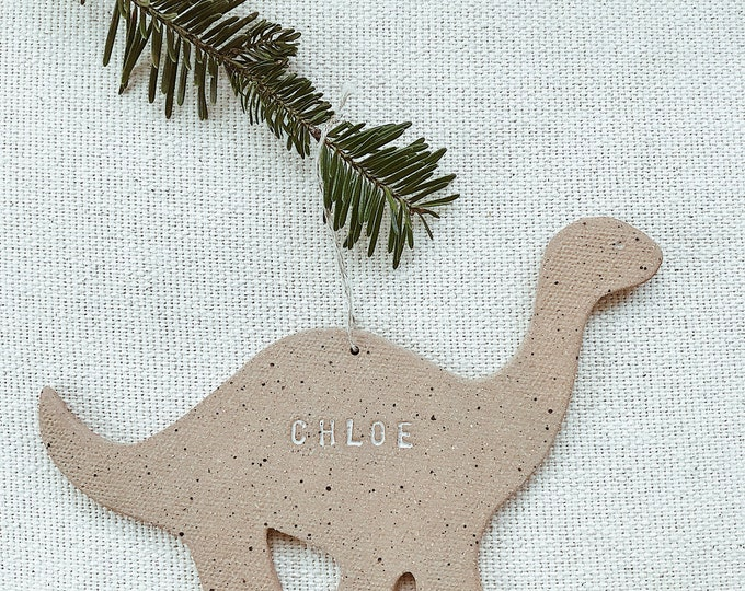 Personalized Dinosaur Child Ornament  Natural Earthy Boho