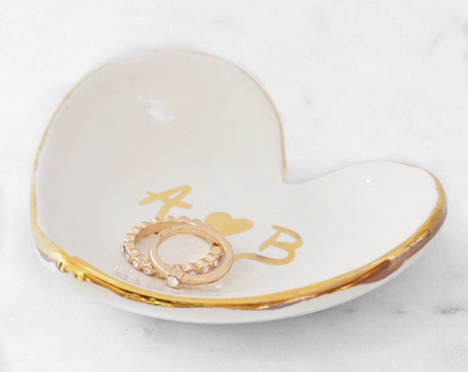 Personalized Heart Jewelry Dish 22k Gold Initials Heart Dish For Jewelry or Anything Else #FREESHIPPING #initialdish
