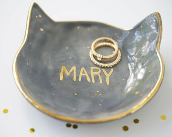 Personalized Kitty Jewelry Dish 22k Gold Name Dish For Jewelry or Anything Else #FREESHIPPING