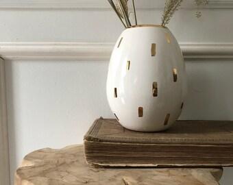 Pod Tall Vase Vessel 22 Karat Gold Luster  Oval Pottery Ceramic Container Chose Color MADE TO ORDER #vasegift #weddingvase