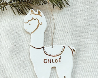 Llama Personalized Ornament  22k Gold Luster Heirloom Babys 1st Ornament  #llamaornament #llamachristmas