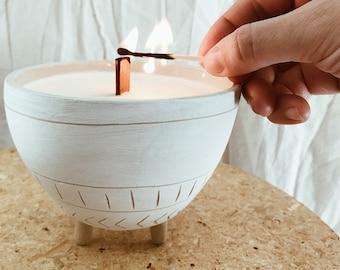 Tripod Soy Candle  Reusable Ceramic Planter Stoneware Natural #naturalsoycandle #reusablecandleplanter #potterysoycandle