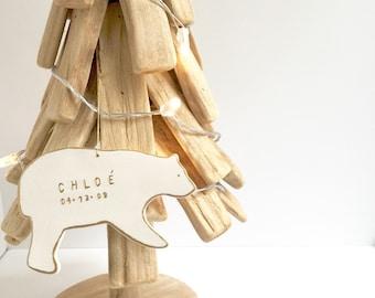 Polar Bear Personalized Ornament White And 22k Gold Minimal  #custombearornament