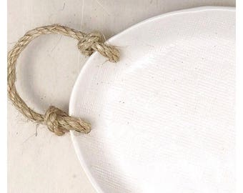 Oval Linen Serving Platter Tray Stoneware MADE TO ORDER