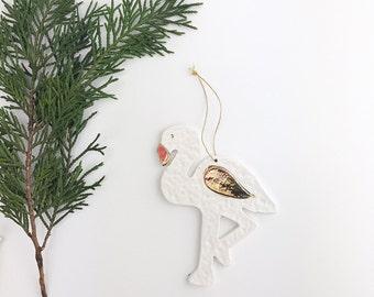 Flamingo Ornament White And 22k Gold Minimal Holiday Ornament Christmas Gift  #flamingoornament