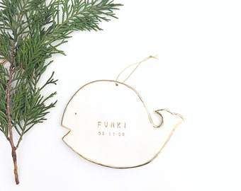 Whale Personalized Ornament  22k Gold Luster Heirloom Babys 1st Ornament  #whaleornament #whalebaby