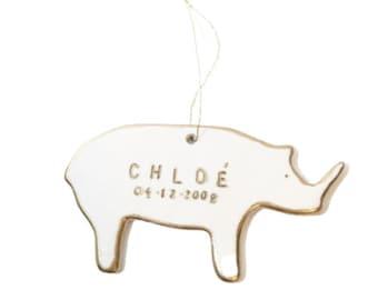 Rhino Personalized Ornament White And 22k Gold  #rhinoornament #babyrhino