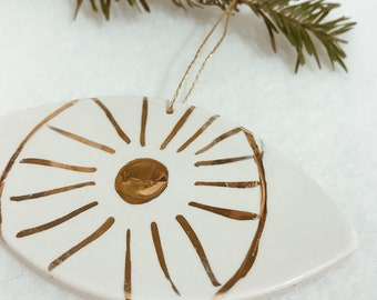 Eye Ornament White And 22k Gold Minimal Holiday Ornament