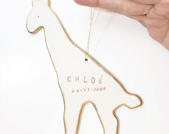 Giraffe Personalized Ornament White And 22k Gold #Minimalornament   #giraffeornament