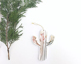 Cactus Ornament White And 22k Gold Minimal Holiday Ornament   #cactusornament