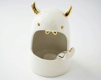 Lil Devil Salt Monster Ceramic Salt Cellar Sculpture Larger Size Foodie  #foodielove #housewarminggift #fungift