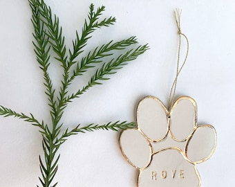 Pet Paw Personalized Ornament White And 22k Gold