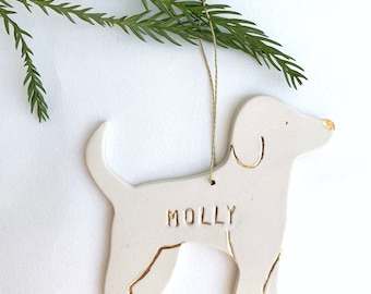 Doggy Personalized Ornament White And 22k Gold