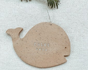 Personalized Whale Child Ornament  Natural Earthy Boho