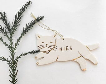 Kitty Cat Personalized Ornament White And 22k Gold