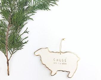Sheep Personalized Ornament  22k Gold Luster Heirloom Babys 1st Ornament Custom Holiday Christmas Gift Keepsake Decor Porcelain Pottery MADE