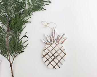 Pineapple Ornament White And 22k Gold Minimal Holiday  #pinneappleornament