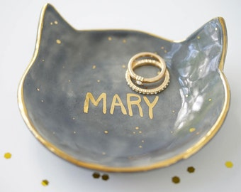 Personalized Kitty Jewelry Dish 22k Gold Name Dish For Jewelry or Anything Else