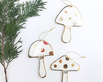 Mushroom Ornament White And 22k Gold  #mushroomornament #woodlandornament #woodlandchristmas