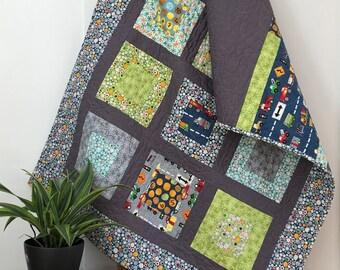 Modern baby quilt   lap quilt   geometric quilt   cars & truck quilt   retro home decor