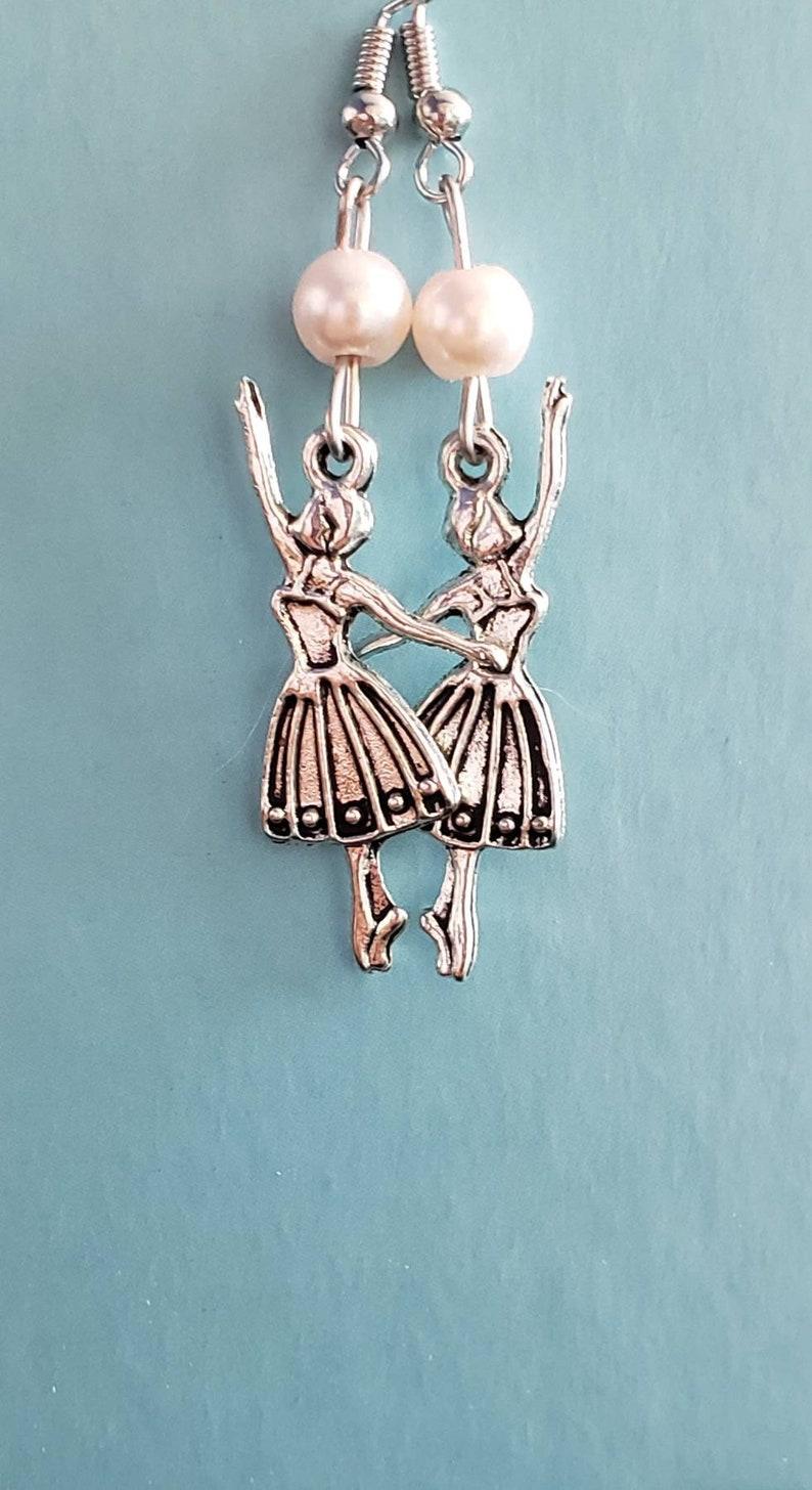 Ballerina pewter earrings dancer earrings Hypoallergenic