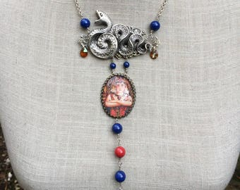 "Art nouveau necklace, cabochon, snake and pearls ""Cléopatra""!"