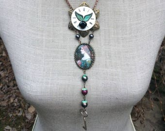 "Romantic Victorian necklace, cabochon, ""Midnight broth"" Crystal beads"