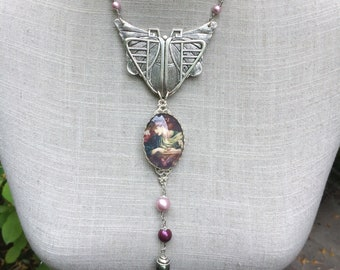"Art nouveau necklace, butterfly, Crystal beads and cabochon ""Mrs Butterfly spring"""