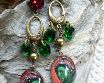 """Baroque and Oriental earrings, cabochon and Crystal """"The big day"""""""