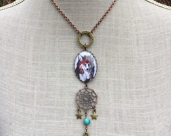 "Ethnic necklace dream catcher Indian Wolf cabochon and gun ""Bang bang"""
