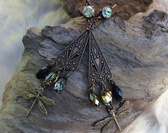 "Art nouveau fairy, brass and ""to the Kingdom of misty"" swarovski crystal earrings"