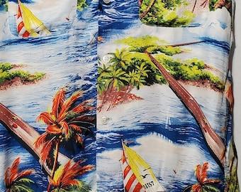Vintage 1950s Hawaiian Highway Palm Tree Sailboat Rayon Loop Collar Shirt - S