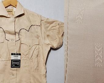 NOS Vintage 1950's 1960's Women's Rayon & Lurex Pearl Snap Western Shirt Blouse - 34