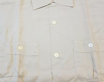 NOS / 1950s Shirt / L / Tall / Rayon / BVD / Rockabilly / Loop Collar / New Old Stock / Deadstock / 50s Shirt / 1950s Mens Fashion / Large