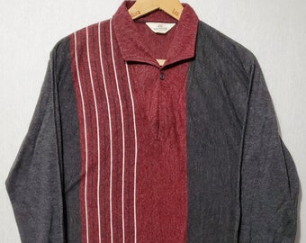 Vintage 1950s Multi Tone Long Sleeve Knit Striped Polo T Shirt - M - Rockabilly - Juvenile Delinquent - Red & Grey